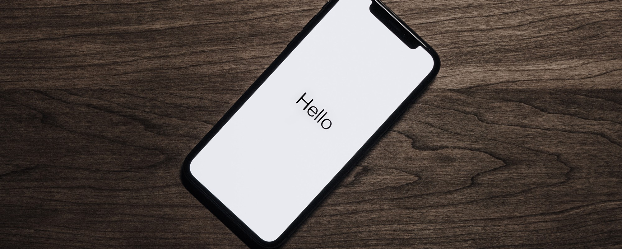 Neues iPhone mit Begrüßungstext