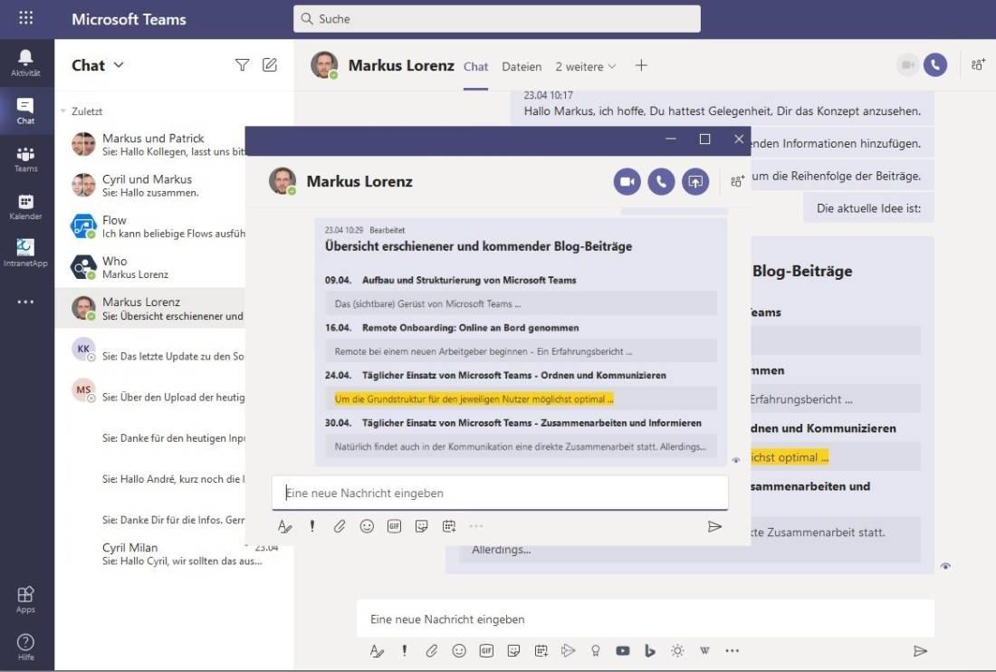 Screenshot von Teams-Chat in einem extra Fenster