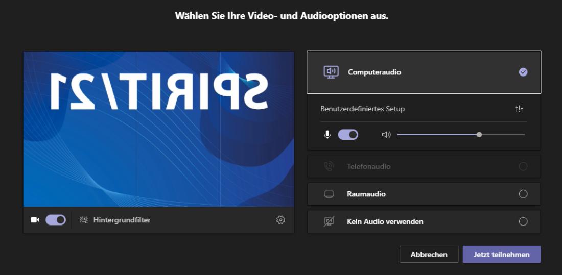 Screenshot aus Microsoft Teams: Audio- und Videoeinstellungen vor Beitritt zu einer Session